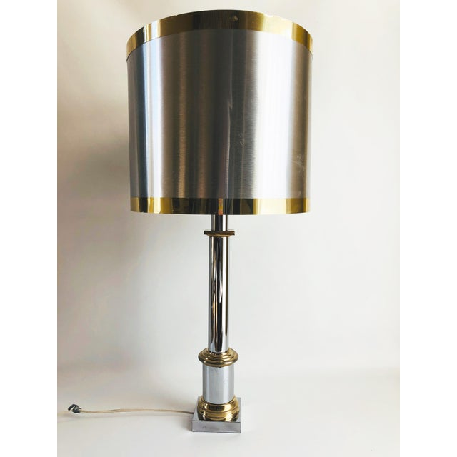 1970s 1970s Modernist Chrome & Brass Table Lamps - a Pair For Sale - Image 5 of 6