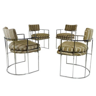 Set of Four Milo Baughman Chrome Barrel Back Dining Chairs For Sale