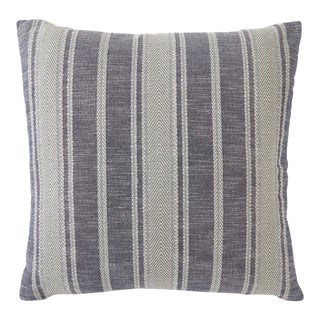 Schumacher Zina Stripe Blue Square Pillow 26x26 - Pair For Sale
