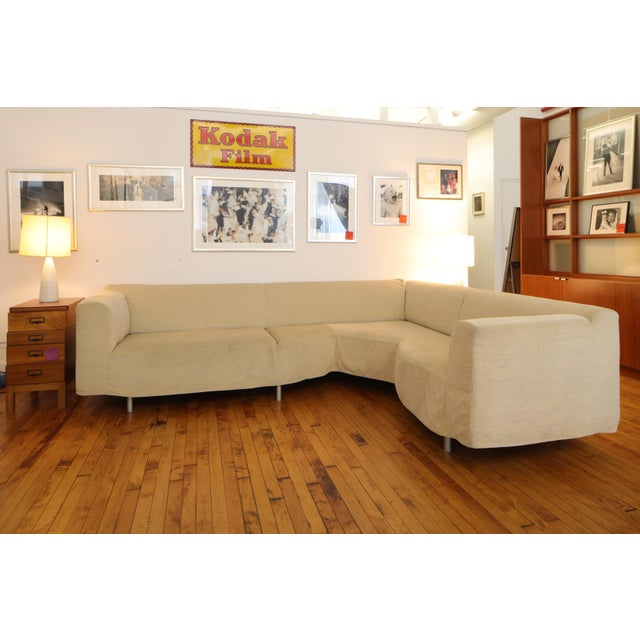 Mid-Century Modern Cassina Champagne Twill L- Shaped Couch For Sale - Image 3 of 3