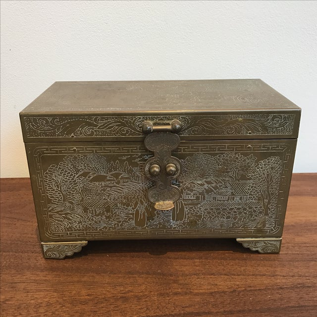 Frederick Cooper Chicago solid brass-wrapped trinket jewelry box. The box features a mirror inside the lid and a felt...