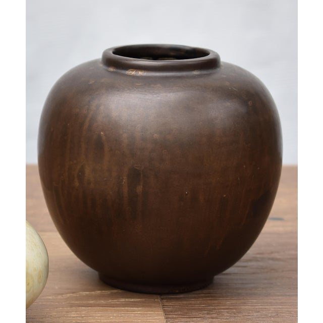 Modern Bronze Glazed Ceramic Vase For Sale - Image 3 of 3