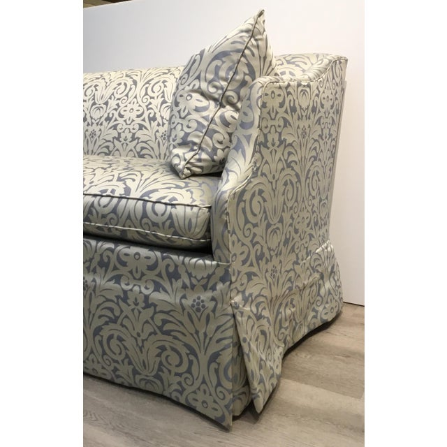 2010s Hickory Chair Traditional Blue and Silver Damask Sateen Skirted Sofa For Sale - Image 5 of 6