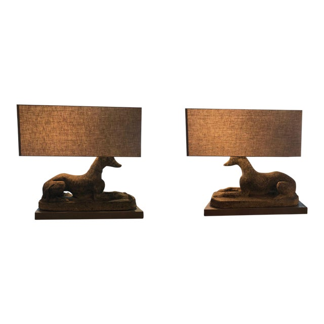 Grand Pair of Antique English Dogs With Custom Base and Linen Shades - Image 1 of 8