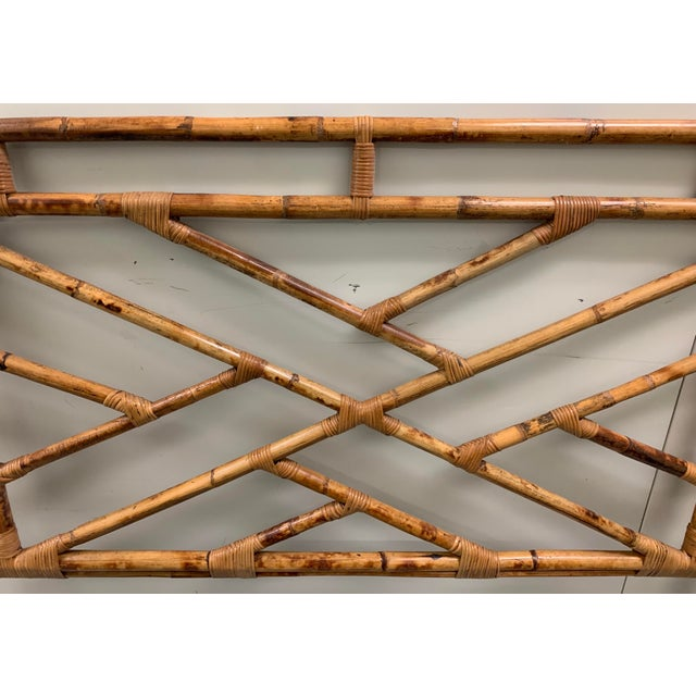 Chippendale Bent Bamboo Full Size Headboard For Sale - Image 3 of 13