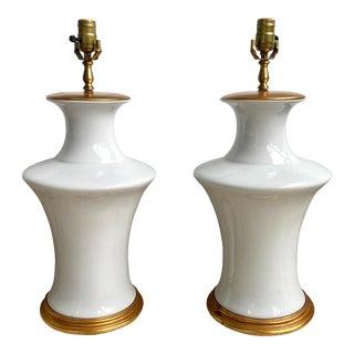 1980s White Blanc De Chine Porcelain Lamps - a Pair For Sale