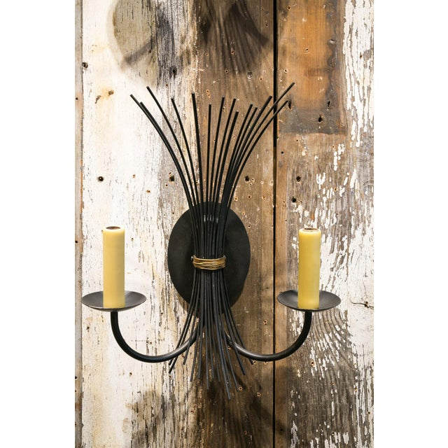 Pair of Vintage Iron Sconces For Sale In Houston - Image 6 of 6