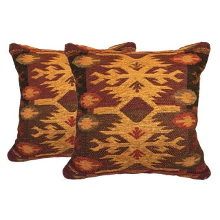 Modern Geometric Red and Gold Pillows- A Pair For Sale