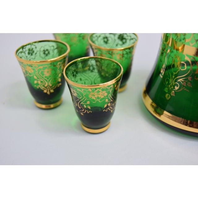 1950s Vintage Murano Glass 24k Gold Decanter Liqueur Set of 4 For Sale - Image 4 of 5