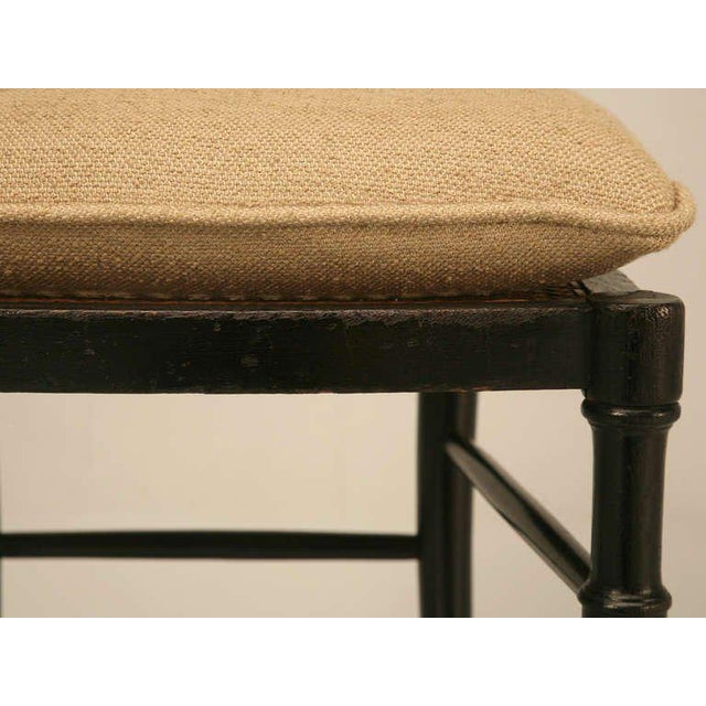 French Original Antique French Napoleon III Ladderback Chair With New Linen Pad For Sale - Image 3 of 10