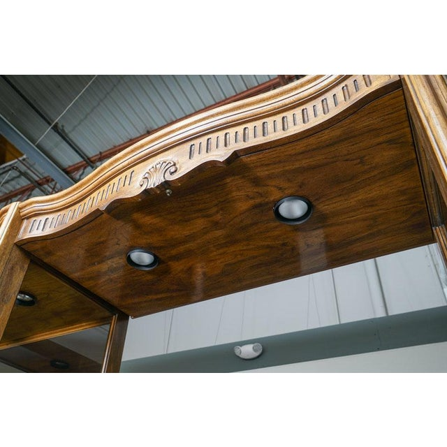 Brown Illuminated Neoclassical Wall Unit Storage Cabinet by Drexel-Heritage For Sale - Image 8 of 13
