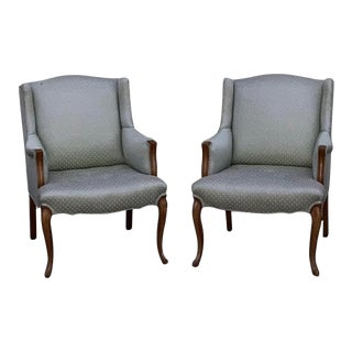 1940s French Provincial Louis XV Style Sky Blue Upholstered Bergere Armchairs - a Pair For Sale
