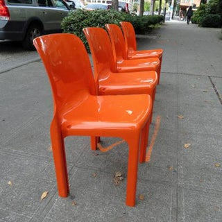 Mid Century Magistretti Italian Artemide Selene Poppy Orange Chairs- Set of 4 Preview