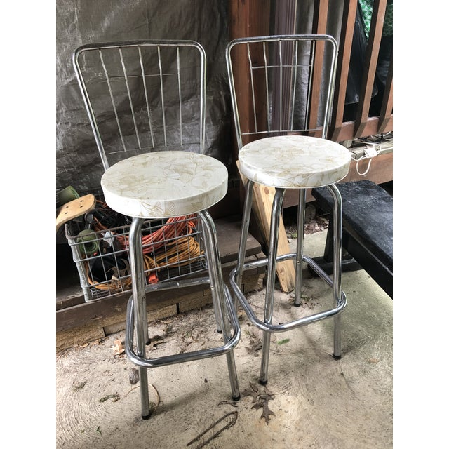 Mid Century Chrome Bar Stools- a Pair For Sale In Cleveland - Image 6 of 9