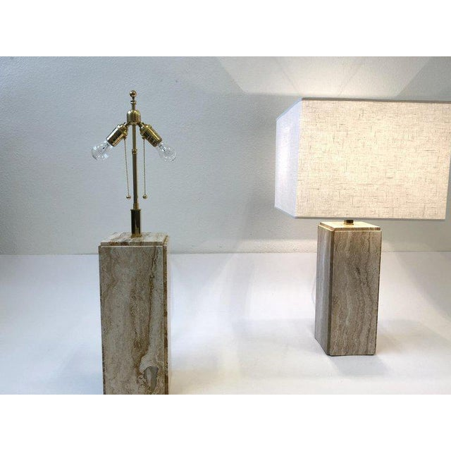 Italian Travertine and Brass Table Lamps - a Pair For Sale - Image 4 of 10