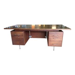 1960s Mid Century Modern Jens Risom Walnut Executive Desk