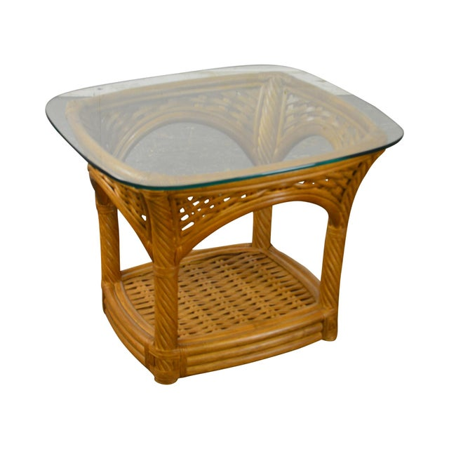 Crate & Barrel Glass Top Rattan Side Table For Sale - Image 13 of 13