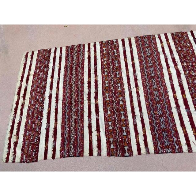 Moroccan Vintage Tribal Kilim Handira Rug, circa 1960 For Sale - Image 9 of 13
