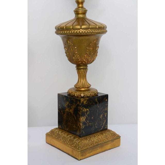 Pair of 1950s Modern Neoclassical Style Gilt and Faux Marble Table Lamps For Sale - Image 4 of 8