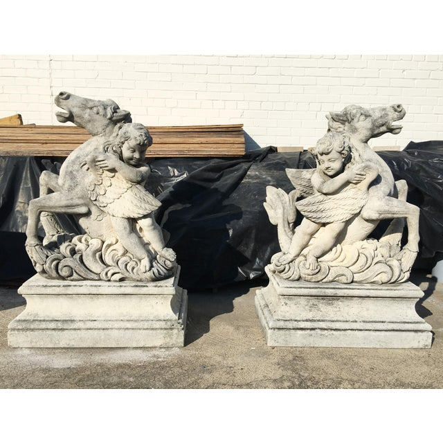 Pair of Putti Garden Statues With Horses For Sale In Dallas - Image 6 of 6