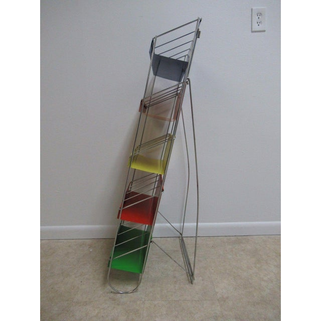 Vintage Chrome Multicolor Book Rack - Image 4 of 11