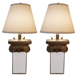 Pair of Italian Capitol Brass and Acrylic Sconces For Sale
