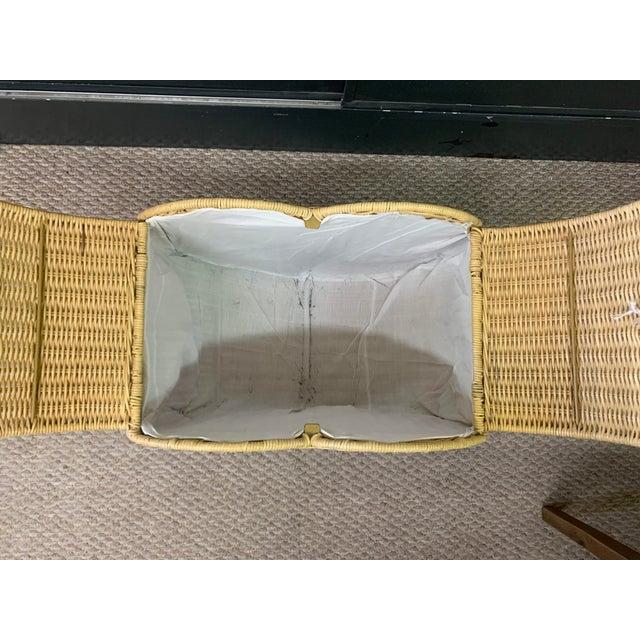 Wood Vintage Rattan Heart Shaped Storage Laundry Hamper For Sale - Image 7 of 11