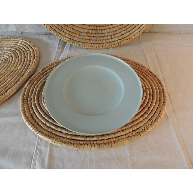 Set of (6) Oval Woven Abaca Placemats In shades of tan and taupe Size: 18 x 14 x 0.25