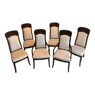 Mid-Century Modern Mastercraft Burl Amboyna Dining Room Chairs - Set of 6 For Sale