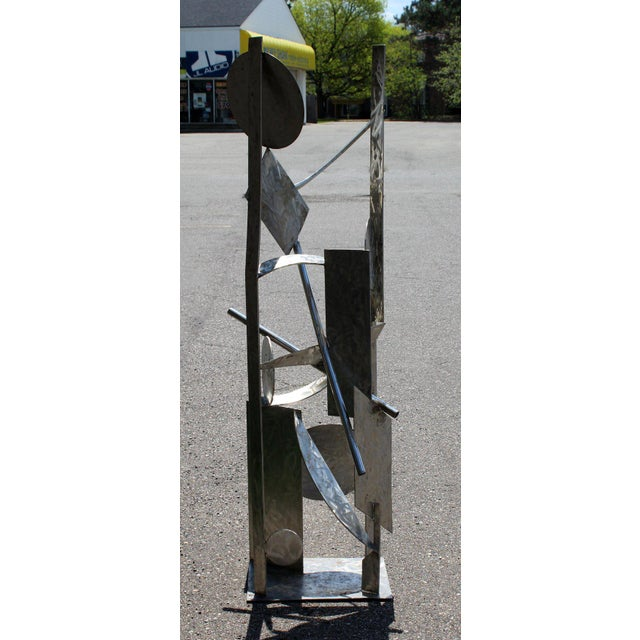 2010s Contemporary Modern Tall Stainless Steel Abstract Outdoor Floor Sculpture Signed For Sale - Image 5 of 8
