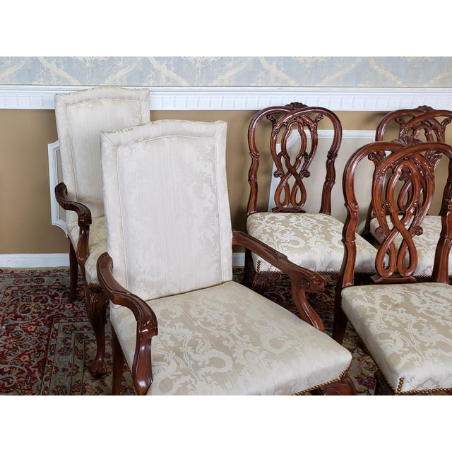 White High Top Tier Karges Furniture Mahogany Chippendale Dining Room Chairs - Set of 8 For Sale - Image 8 of 12