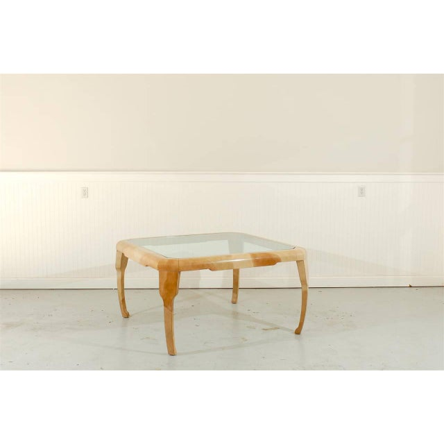 Mid-Century Modern Rare Lacquered Faux Goatskin Dining or Game Table by Alessandro for Baker For Sale - Image 3 of 10
