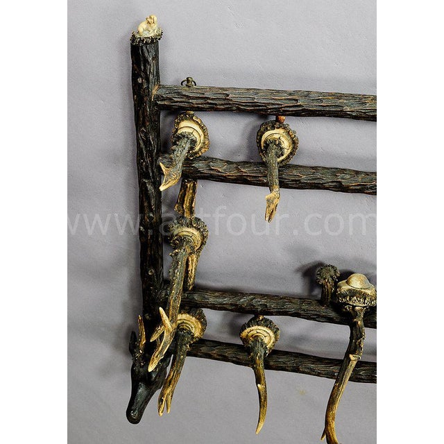 Wooden Carved Coat Rack With Antler Carvings Ca. 1900 For Sale - Image 6 of 8