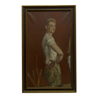 """1960s """"The Painters Boyfriend"""" Signed Framed Painting on Canvas by Frederick McDuff"""