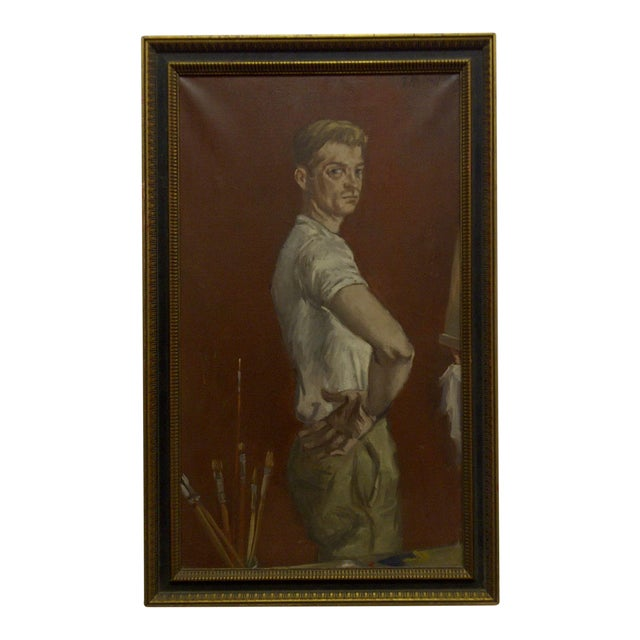 "1960s ""The Painters Boyfriend"" Signed Framed Painting on Canvas by Frederick McDuff For Sale"