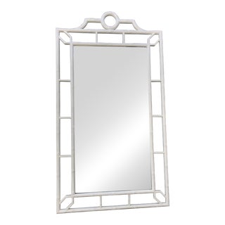 1970's Vintage Oversized White Chippendale Mirror For Sale