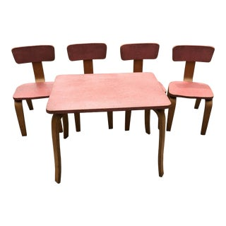1960s Mid-Century Childs' Dining Set in the Manner of Alvar Aalto Htf - 5 Pieces For Sale