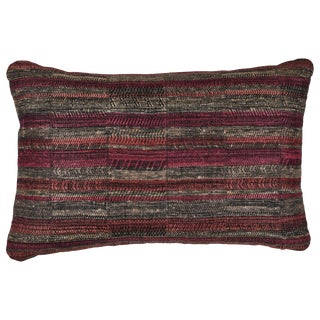 Indian Handwoven Pillow in Sunset Stripes For Sale