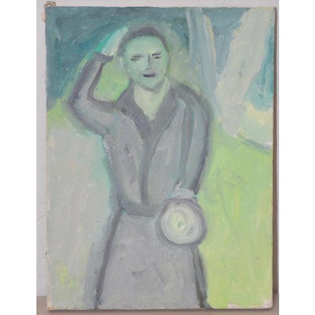 """Arthur Krakower Arthur J. Krakower """"Uncle Jack, Central Park"""" Original Oil on Canvas c.2000 For Sale - Image 4 of 4"""