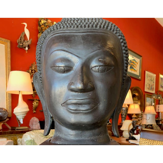 Metal Late 19th Century Antique Monumental Bronze Thai Buddha Head For Sale - Image 7 of 12