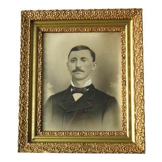 Antique Portrait of a Man Charcoal Over Photograph