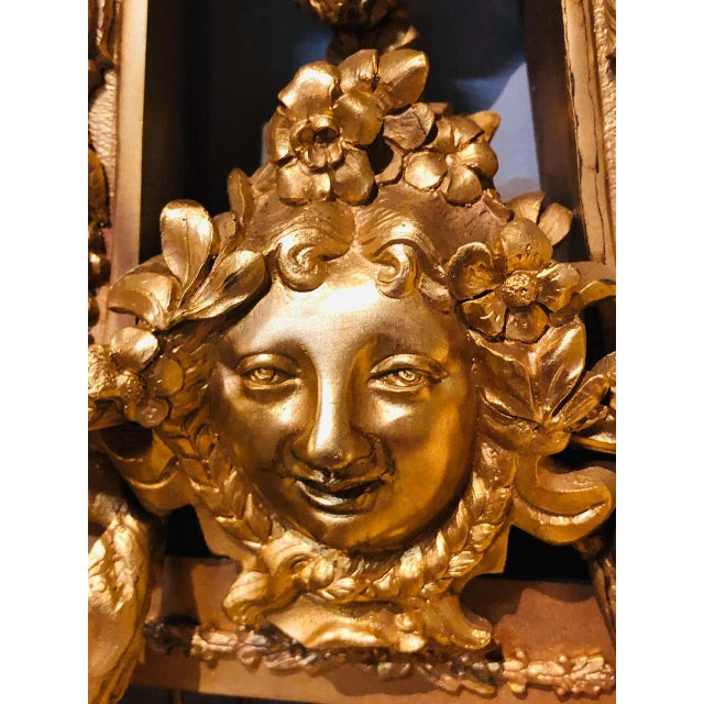 Pair of Four-Light Louis XVI Style Bird & Face Mounted Gilt Bronze Wall Sconces For Sale - Image 11 of 13