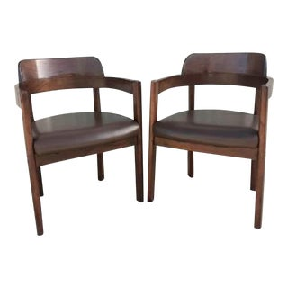 Vintage Mid Century Modern Style Boling Walnut Barrel Back Chairs - a Pair For Sale