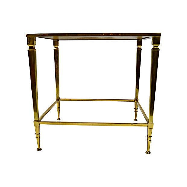 Neoclassical Brass & Glass Auxiliary Side Table - Image 4 of 10