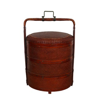 Antique Chinese Rattan Hamper/Food Box For Sale