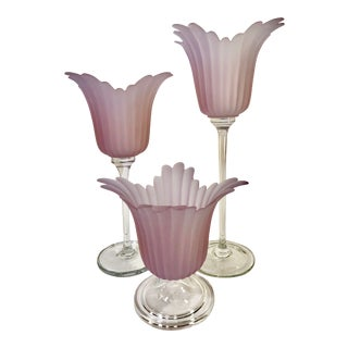1970s Vintage Tulip Shaped Candle Holders- Set of 3 For Sale