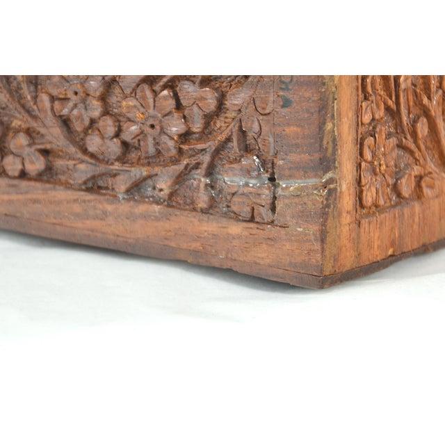Brown Carved Wood & Bone Letter Holder For Sale - Image 8 of 9