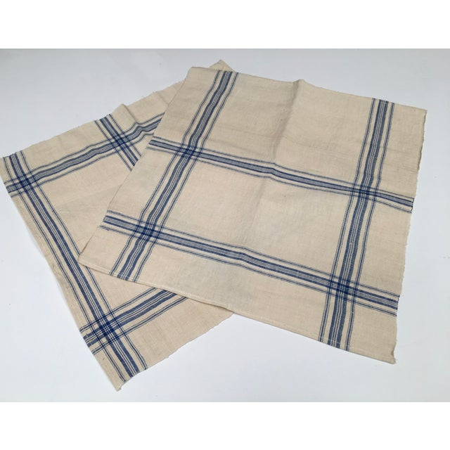 Homespun Flax Linen French Blue Plaid Towels - A Pair - Image 5 of 7