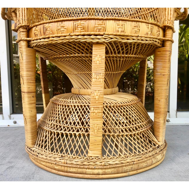 Brown Vintage Rattan Peacock Chair For Sale - Image 8 of 11