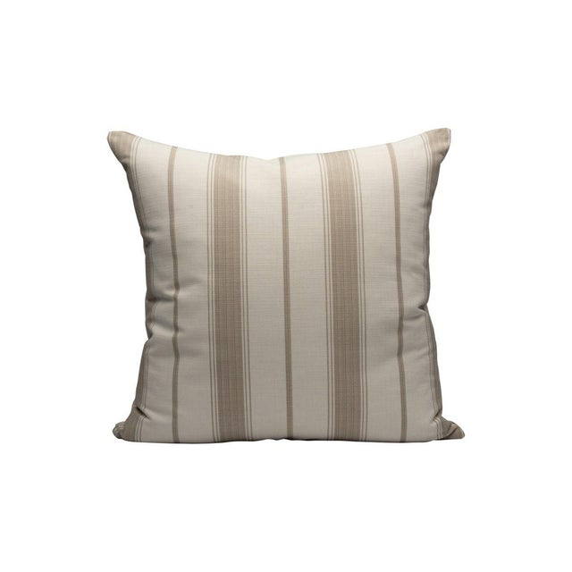 Traditional Sconset Stripe Pillow, Linen For Sale - Image 3 of 3